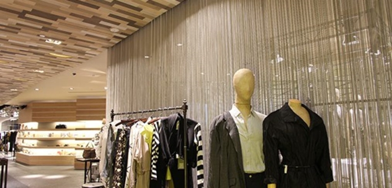 Transit Curtains are used in retail to maintain lots of natural light and airflow.