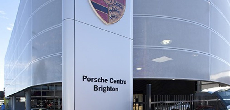 The Porsche Centre used perforated metal for its signature look.